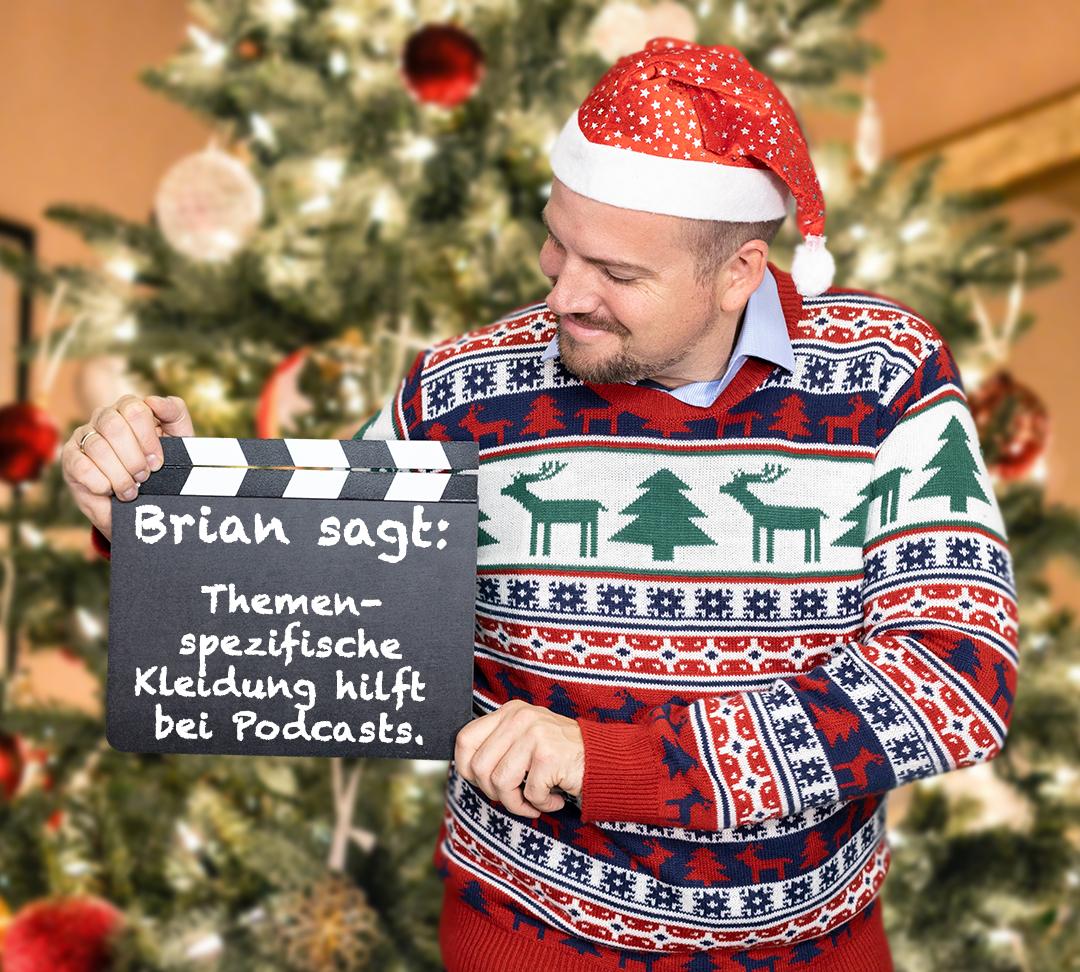 Bei Podcastaufnahmen sollten Sie themenspezifische Kleidung tragen. Das hilft auf psychologischer Ebene.