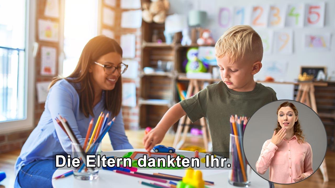 Barrierefreie Videos enthalten idealerweise Gebärden-Dolmetscher und Untertitel.