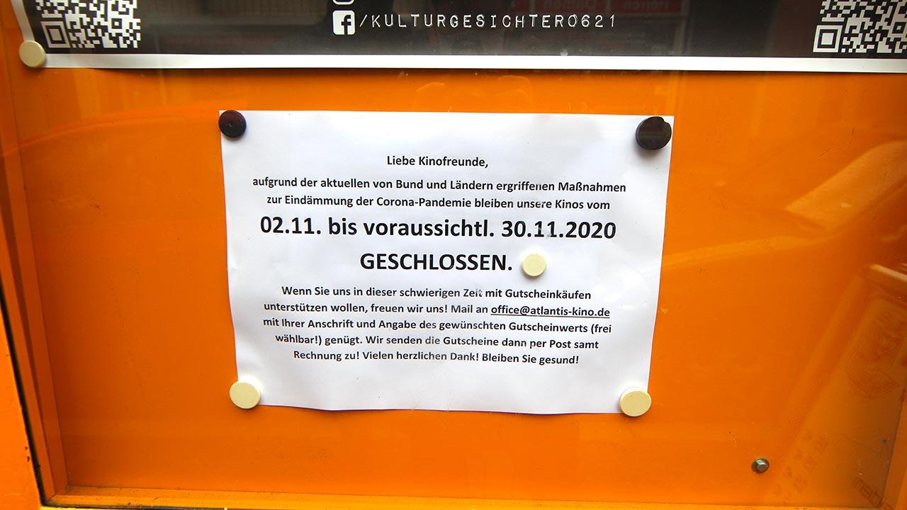 Das Kino ist auch im Dezember nach wie vor geschlossen.