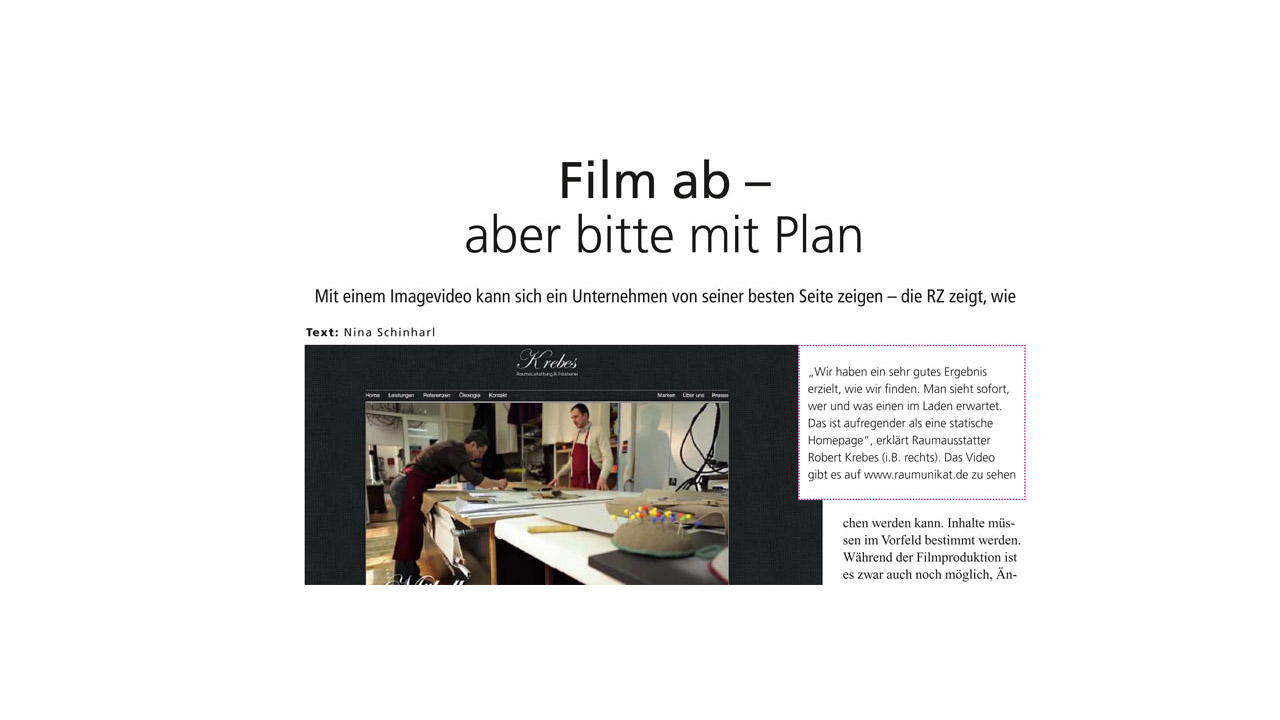 Pionier Ralf Biebeler gibt Interview für Raumausstatterzeitung.