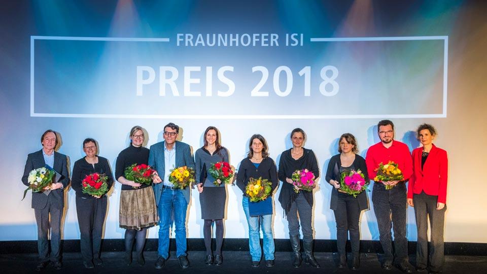 Die Preisträger des Fraunhofer ISI Preis 2018. Zu jedem wurde ein Preisverleihungsvideo produziert.
