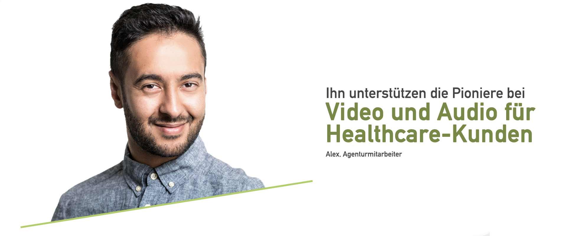Healthcare Agenturen und Kunden sind bei uns bestens aufgehoben. Wir haben viel Erfahrung in der Produktion von Video und Audio im Healthcare- und Agenturbereich.