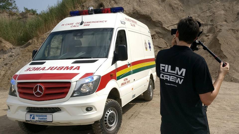 Insgesamt drei Pioniere haben das Werbevideo für Ambulanzen für die Carl Friederichs GmbH aus Frankfurt erstellt. Gefilmt wurde in Viernheim in Südhessen.