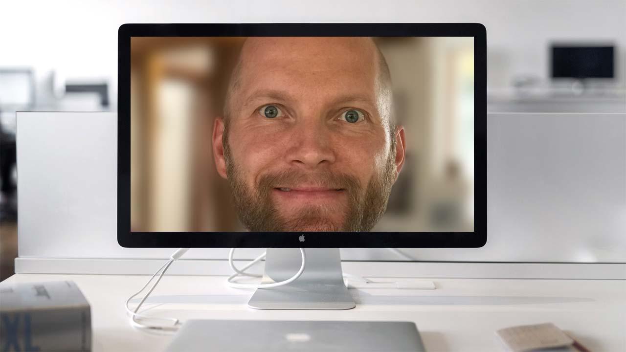Zu nah an der Webcam ist auch nicht gut.