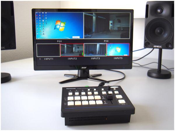 Wir können in unserem Studio Signale von 4 Kameras verarbeiten.