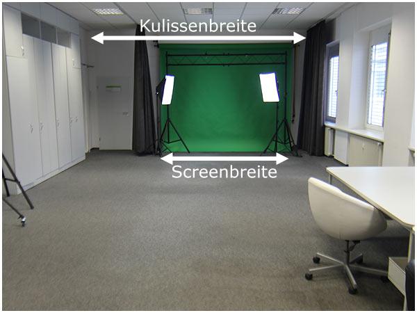 Der Blick auf die Kulissenbreite, sowie die Screenbreite in unserem Filmstudio.